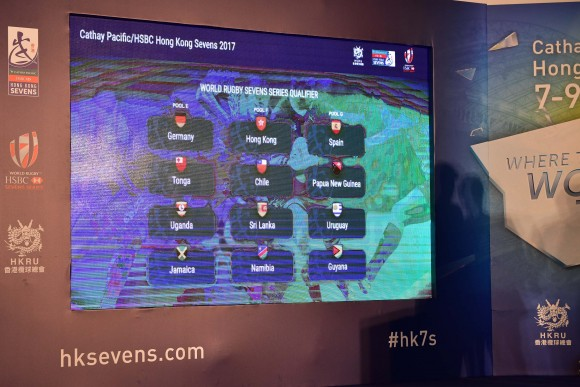 Men's Qualifier draw of Hong Kong Rugby Sevens on March 13, 2017. (Bill Cox/Epoch Times)