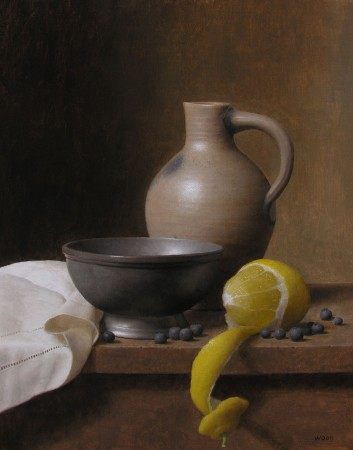 """Jug and Lemon,"" 2015, by Justin Wood. Oil on canvas on board, 14 inches by 11 inches. (Courtesy of Justin Wood)"