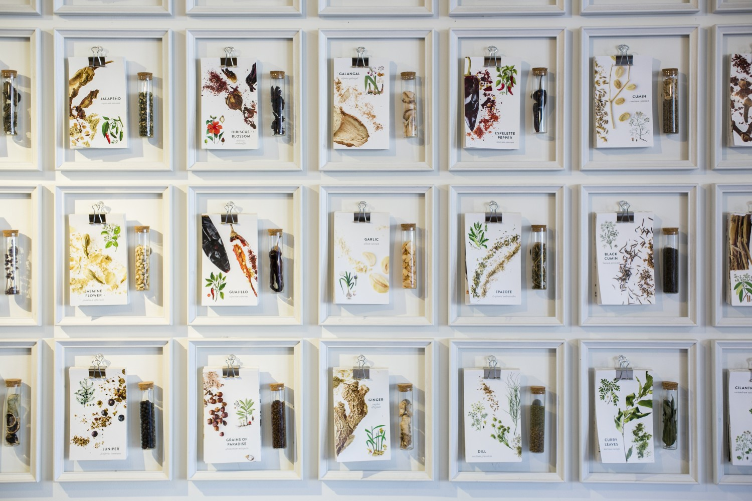 Illustrations of spices on display at La Boîte. (Samira Bouaou/Epoch Times)