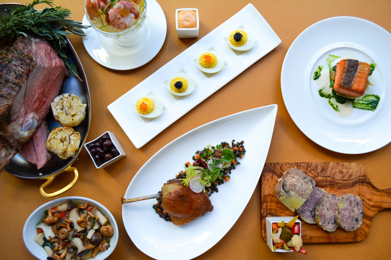A spread of dishes on Gotham Bar and Grill's new French-focused menu. (Gotham Bar and Grill)