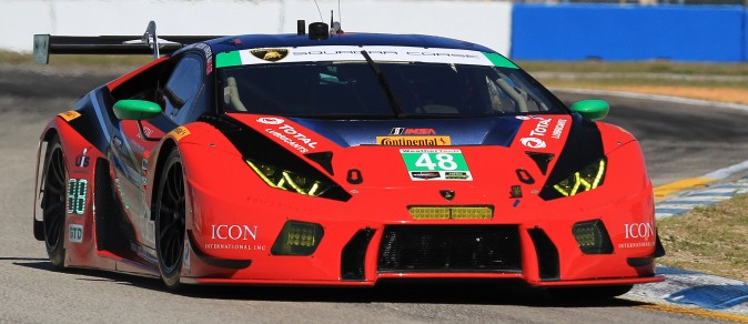 Bryan Sellers in the #48 Miller Motorsports Lamborghini Huracan GT3 topped the GTD class with a lap of 2:01.040. (Chris Jasurek/Epoch Times)