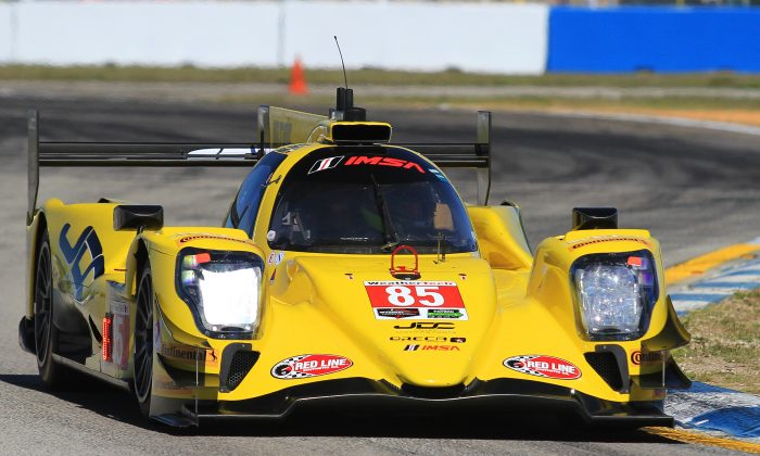 Stephen Simpson in the #85 JDC-Miller Oreca set the fastest lap of the first practice session for the IMSA WeatherTech Mobil 1 Twelve Hours of Sebring, March 16, 2017. (Chris Jasurek/Epoch Times)