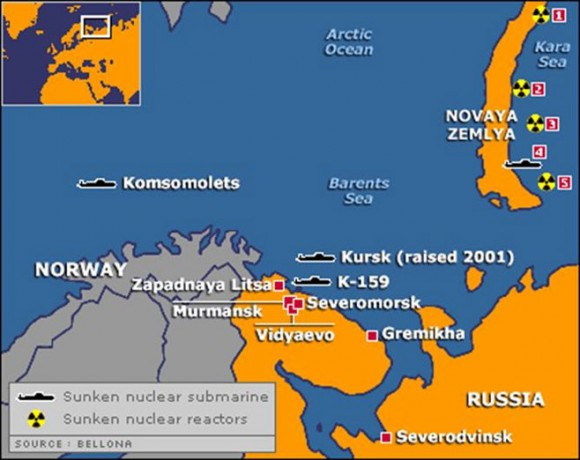 A map of Soviet/Russian nuclear hazards in the Arctic. (Bellona Foundation)