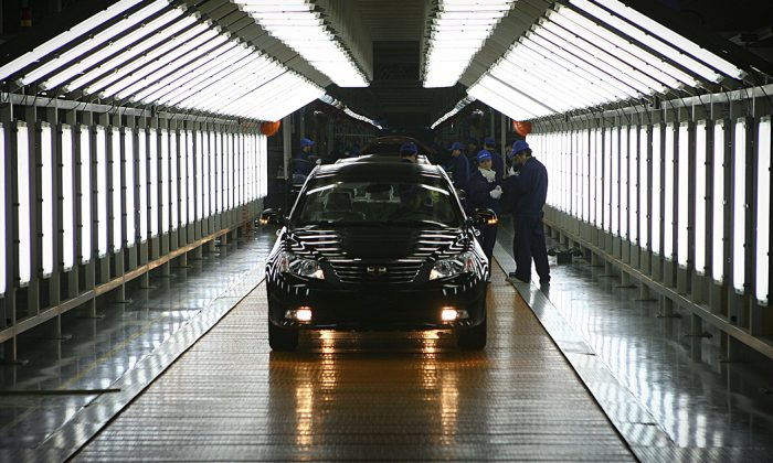 The Geely Automotive plant in Ningbo, in China's Zhejiang Province. Swedish carmaker Volvo and Chinese parent company Geely will share the factory, producing both brands on the same production line. The move is designed to help transfer more European know-how to Geely. (STR/AFP/Getty Images)