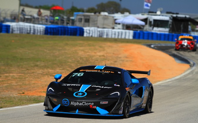 Matt Plumb set third fastest lap in the Continental Tire Challenge GS class in the Compass360 McLaren in the afternoon session. The Continental Challenge series races Friday afternopon. (Chris Jasurek/Epoch Times)