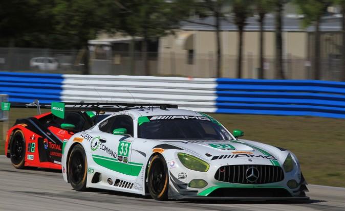 Jeroen Bleekemolen in the #33 Riley Motorsports-Team AMG Mercedes-AMG GT3 led GTD after four hours. (Chris Jasurek/Epoch Times)