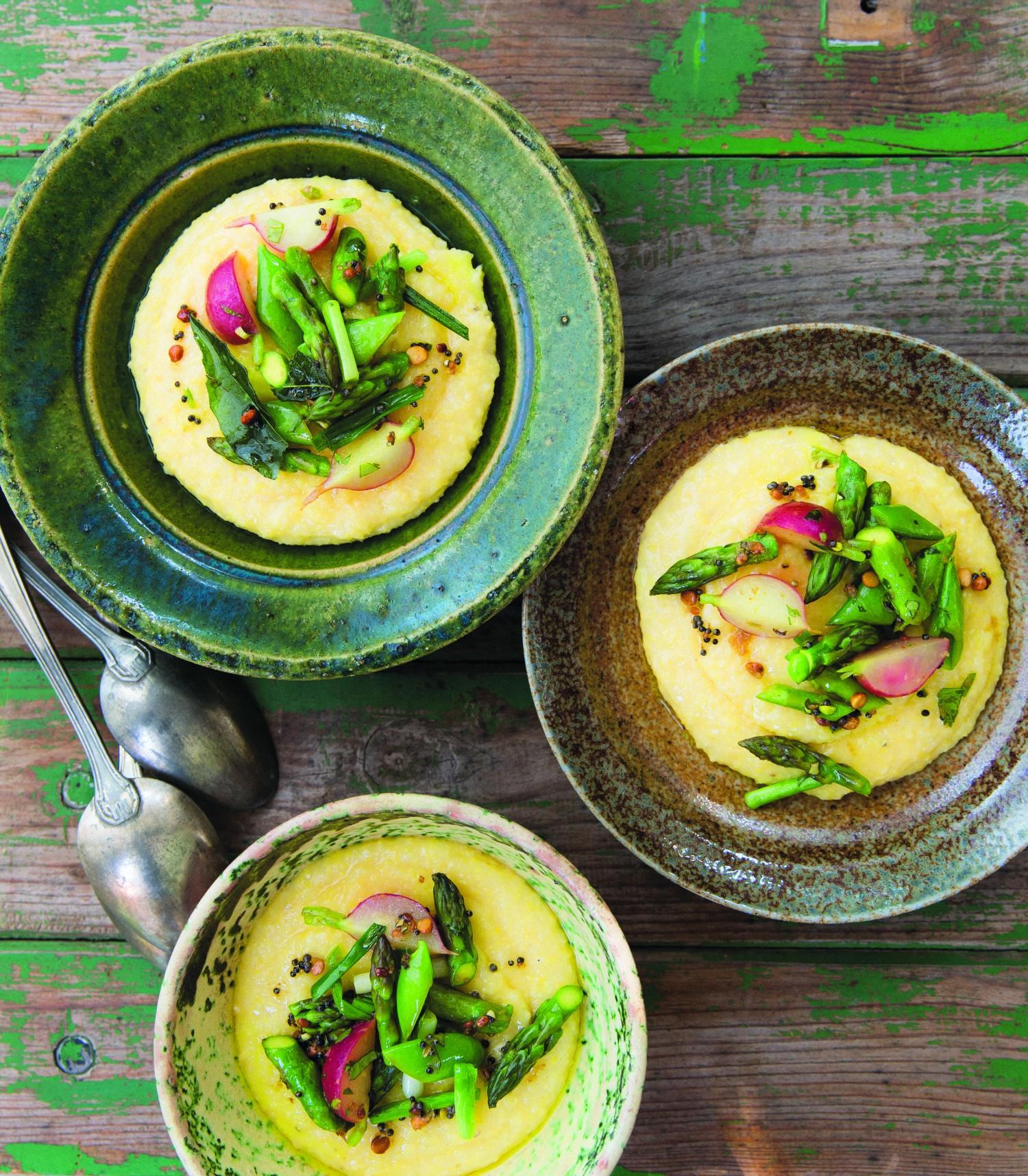 Spiced Spring Vegetable and Coconut Polenta. (Erin Scott)
