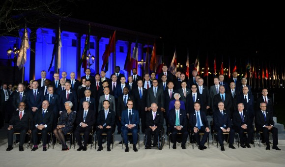 Participants in the G20 Finance Ministers and Central Bank Governors Meeting pose for the Family photo in Baden-Baden, southern Germany, on March 17, 2017. (THOMAS KIENZLE/AFP/Getty Images)