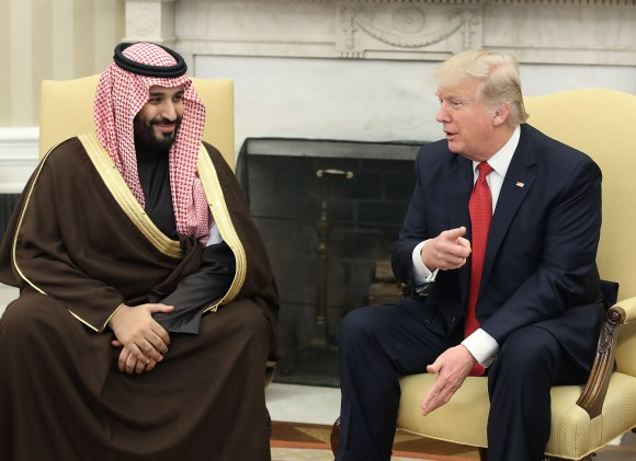 President Donald Trump (R) meets with Mohammed bin Salman, Deputy Crown Prince and Minister of Defense of the Kingdom of Saudi Arabia, in the Oval Office at the White House in Washington on March 14, 2017. (Mark Wilson/Getty Images)