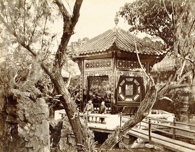 """Summer House at Longevity Temple, Canton,"" 1870s, by A Chan (Ya Zhen).  Albumen silver print. (Courtesy of the Stephan Loewentheil Historical Photography of China Collection)"