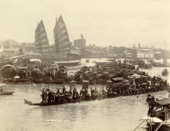 """The Dragon Boat,"" 1870s, by A. Chan. Albumen silver print. (Courtesy of the Stephan Loewentheil Historical Photography of China Collection)"
