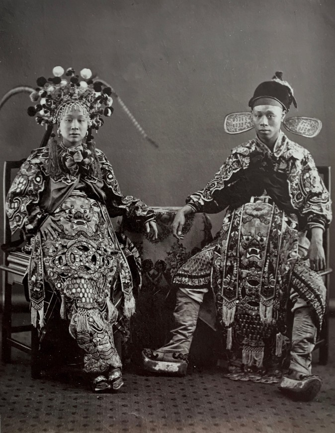 """A Chinese Actress and Actor,"" circa 1870, by Lai Fong. Albumen silver print. (Courtesy of the Stephan Loewentheil Photography of China Collection)"