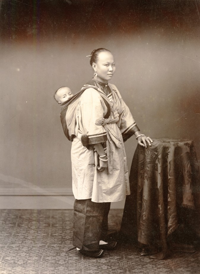 """Woman and Child,"" circa 1870–1879, by Pun Lin. Albumen silver print. (Courtesy of the Stephan Loewentheil Historical Photography of China Collection)"