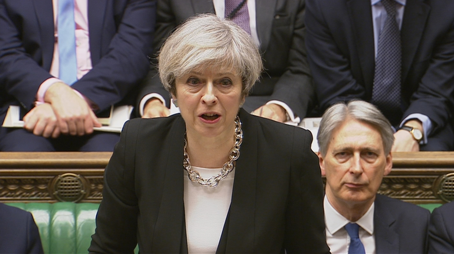Britain's Prime Minister Theresa May speaks in Parliament the morning after an attack in Westminster in London on March 23, 2017. (Parliament TV/Handout via REUTERS)
