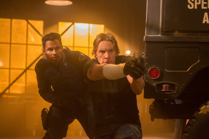 "(L-R) Michael Peña as Ponch and Dax Shepard as Jon in Warner Bros. Pictures' action comedy ""CHiPS."