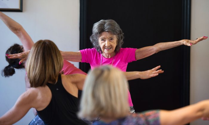Yoga Master Tao Porchon-Lynch  instructs a yoga class in Hartsdale, N.Y., on Jan. 16, 2017. The 98-year-old Porchon-Lynch has been recognized by Guinness World Records as the world's oldest yoga instructor. (DON EMMERT/AFP/Getty Images)