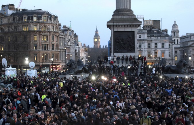 People gather during a candlelit vigil at Trafalgar Square in London on March 23, 2017, after four people were killed in Westminster the day before in a terrorist attack by 'lone wolf' killer Khalid Masood. (Jack Taylor/Getty Images)
