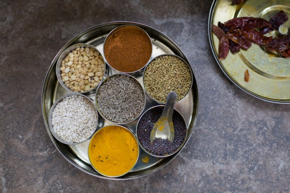 An assortment of South Indian spices in Agrawal's spice box. (Samira Bouaou/Epoch Times)