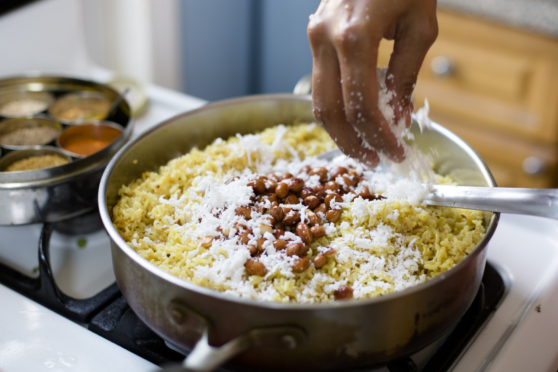 Homemade lemon peanut rice prepared by Chitra Agrawal. (Samira Bouaou/Epoch Times)