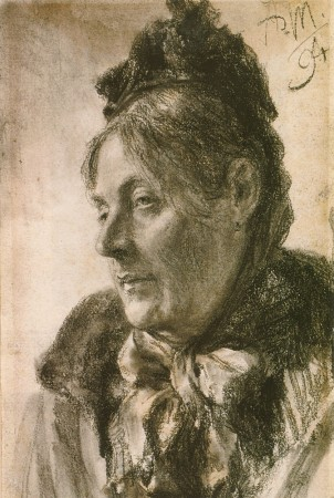 """""""The Head of a Woman,"""" circa 1894,  by Adolph von Menzel (German, 1815–1905). Drawing, private collection. (Courtesy of Art Renewal Center)"""