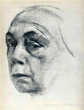 """""""Self Portrait,"""" 1924, by Käthe Kollwitz (German, 1867–1945). (Public domain/WikiArt)"""