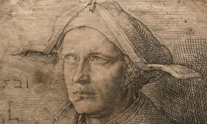 """Portrait of a Man with a Cast in his Eye,"" (Detail) 1521, by Lucas van Leiden (circa 1494–1533, The Netherlands). Charcoal and black chalk, with traces of white chalk, Nationalmuseum, Sweden. (Milene Fernandez/Epoch Times)"