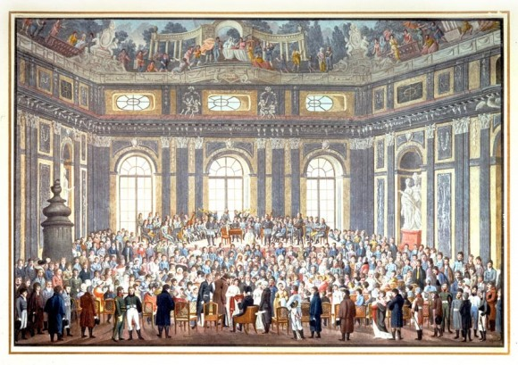 Color print, from 1909, of a watercolor on the lid of a stationery box made by Balthazar Wigand and presented to the composer Joseph Haydn. It commemorates Haydn's attendance, in extreme old age, of a performance of his oratorio The Creation. (The composer can be seen seated in the lower center of the image, wearing wig and hat.) The original of this picture was lost in 1945. (public domain)