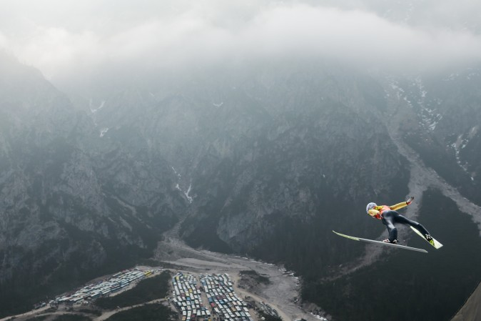 Anders Fannemel of Norway competes during the FIS Ski Jumping World Cup Flying Hill Team Event in Planica, Slovenia, on March 25.(JURE MAKOVEC/AFP/Getty Images)