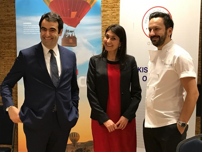 Ambassador Selcuk Unal, Cultural Attaché Derya Serbetci, and Chef Ismet Saz at Turkish Cuisine Night on March 23 at the Agriculture and Food Museum in Ottawa. (Kerry-Leigh Burchill)