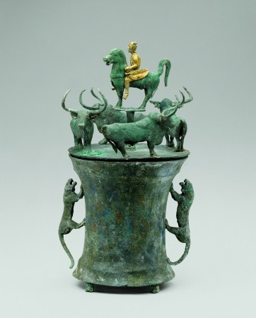 Cowry container with bull and rider, Western Han Dynasty (206 B.C.–A.D. 9). Bronze, Yunnan Provincial Museum. (The Metropolitan Museum of Art)