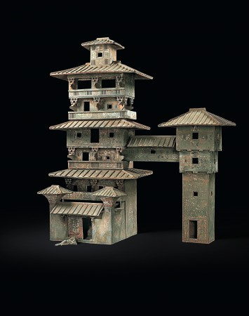 Model of a multistory house, Eastern Han Dynasty (25–220). Earthenware with pigment, Henan Museum. (The Metropolitan Museum of Art)