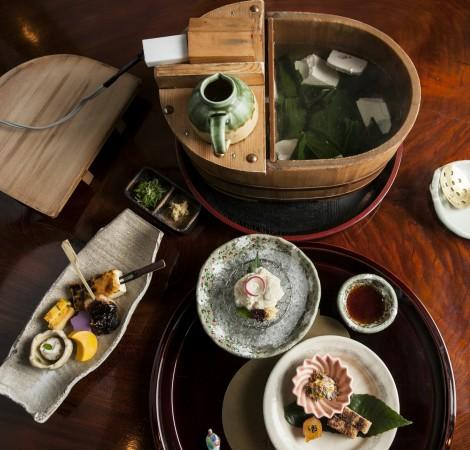 A tofu kaiseki meal at Tousuiro. (Annie Wu/Epoch Times)