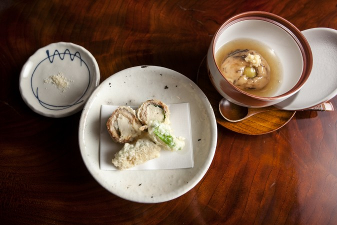 Tofu fried with miso tempura batter and a tofu dumpling mixed with vegetables. (Annie Wu/Epoch Times)