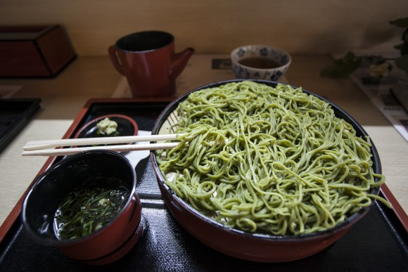 Matcha-infused soba noodles. (Annie Wu/Epoch Times)