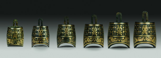 Six Nniuzhong bells, Western Han Dynasty (206 B.C.–A.D. 9) Bronze inlaid with gold and silver, Jiangxi Provincial Institute of Cultural Relics and Archaeology. (The Metropolitan Museum of Art)
