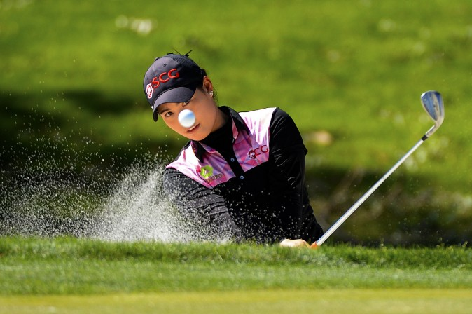Moriya Jutanugarn of Thailand makes a shot out of a bunker during the third round of the ANA Inspiration on the Dinah Shore Tournament Course at Mission Hills Country Club in Rancho Mirage, Calif., on April 2. (Robert Laberge/Getty Images)