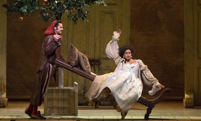Peter Mattei as Figaro and Pretty Yende as Rosina in Il Barbiere di Siviglia (Marty Sohl/Metropolitan Opera)