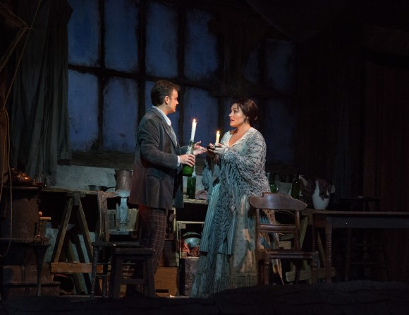 "Dmytro Popov as Rodolfo and Ailyn Pérez as Mimì in Puccini's ""La Bohème"" at the Met Opera in January. Pérez takes part in the second Opera Party on May 15. (Marty Sohl/Metropolitan Opera)"