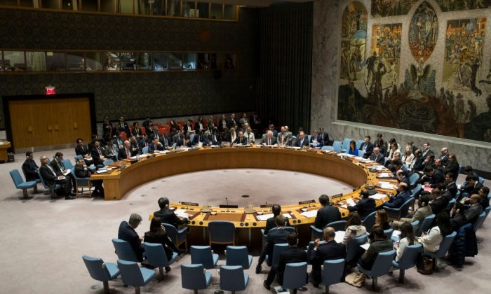 Members of the United Nations Security Council meet at U.N. headquarters, in New York City on April 5, 2017. (Drew Angerer/Getty Images)