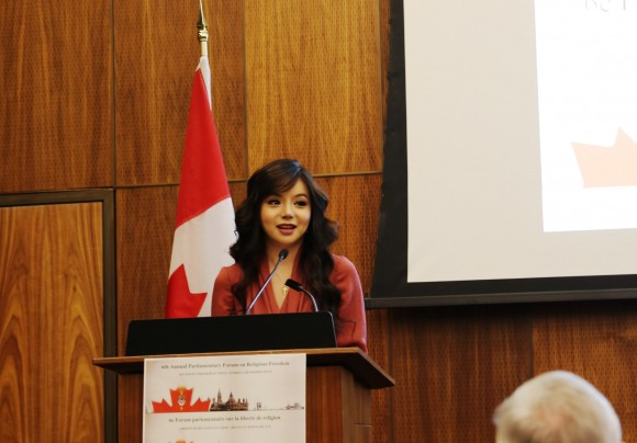 Miss World Canada Anastasia Lin speaks at the 6th Parliamentary Forum on Religious Freedom in Ottawa on April 4, 2017. (Donna He/Epoch Times)