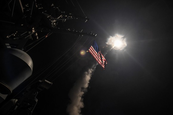U.S. Navy guided-missile destroyer USS Porter conducts strike operations against Syria while in the Mediterranean Sea. (Ford Williams/Courtesy U.S. Navy)