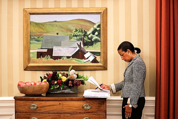 National security adviser Susan Rice looks over documents in the Oval Office of the White House on Oct. 7, 2016. (Chip Somodevilla/Getty Images)