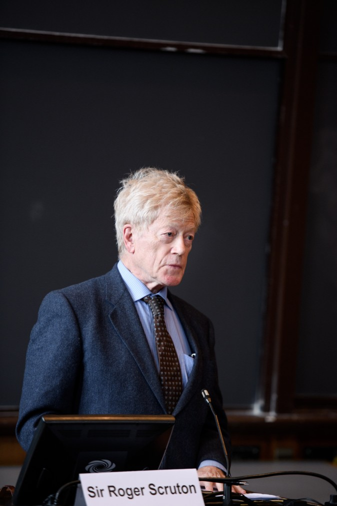 "Sir Roger Scruton, Writer and Philosopher; Senior Fellow, Ethics and Public Policy Center, gives a public lecture at the James Madison Program in American Ideals and Institutions event, ""The Achievements of Sir Roger Scruton,"" in Princeton University, on April 3, 2017. (Sameer A. Khan)"