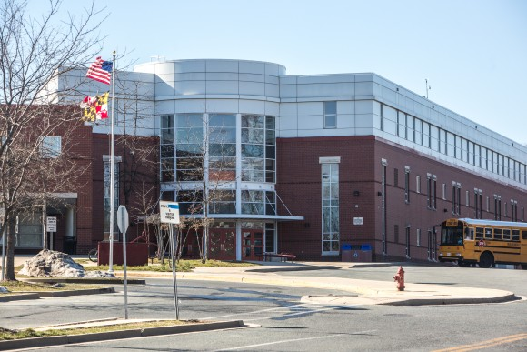 Rockville High School in Rockville, Maryland., on March 22, 2017, where a 14-year-old student was allegedly raped in a bathroom by 18-year-old Henry Sanchez Milian, an illegal immigrant, and 17-year-old Jose Montano. (Benjamin Chasteen/The Epoch Times)