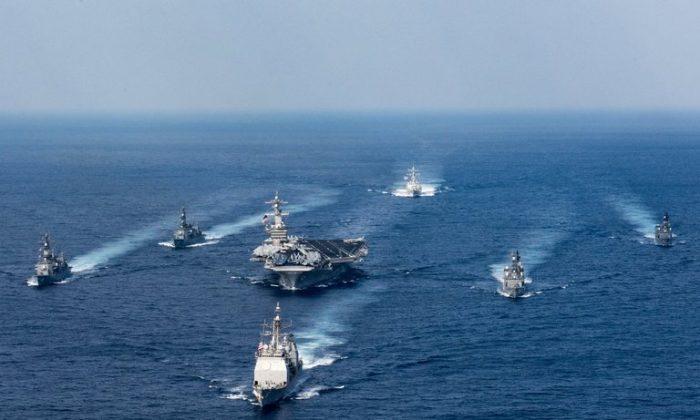 The U.S. carrier group headed by carrier USS Carl Vinson. (Matt Brown/US Navy)