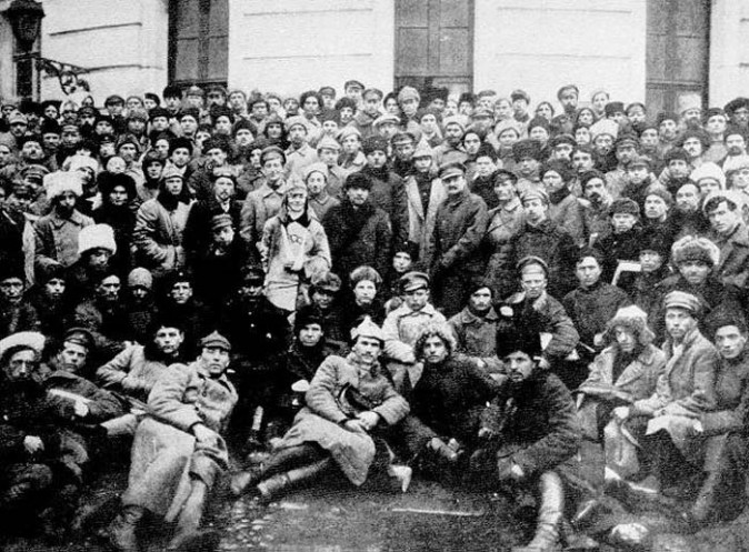 Lenin and other communist leaders with Red Army soldiers who participated in crushing the anti-Bolshevik Kronshtadt uprising. (Leon Leonidov)