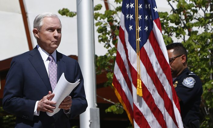 Attorney General Jeff Sessions in Nogales, Ariz., on April 11, 2017. Sessions announced making immigration enforcement a key Justice Department priority, saying he will speed up deportations of immigrants in the country illegally who were convicted of federal crimes. (AP Photo/Ross D. Franklin)