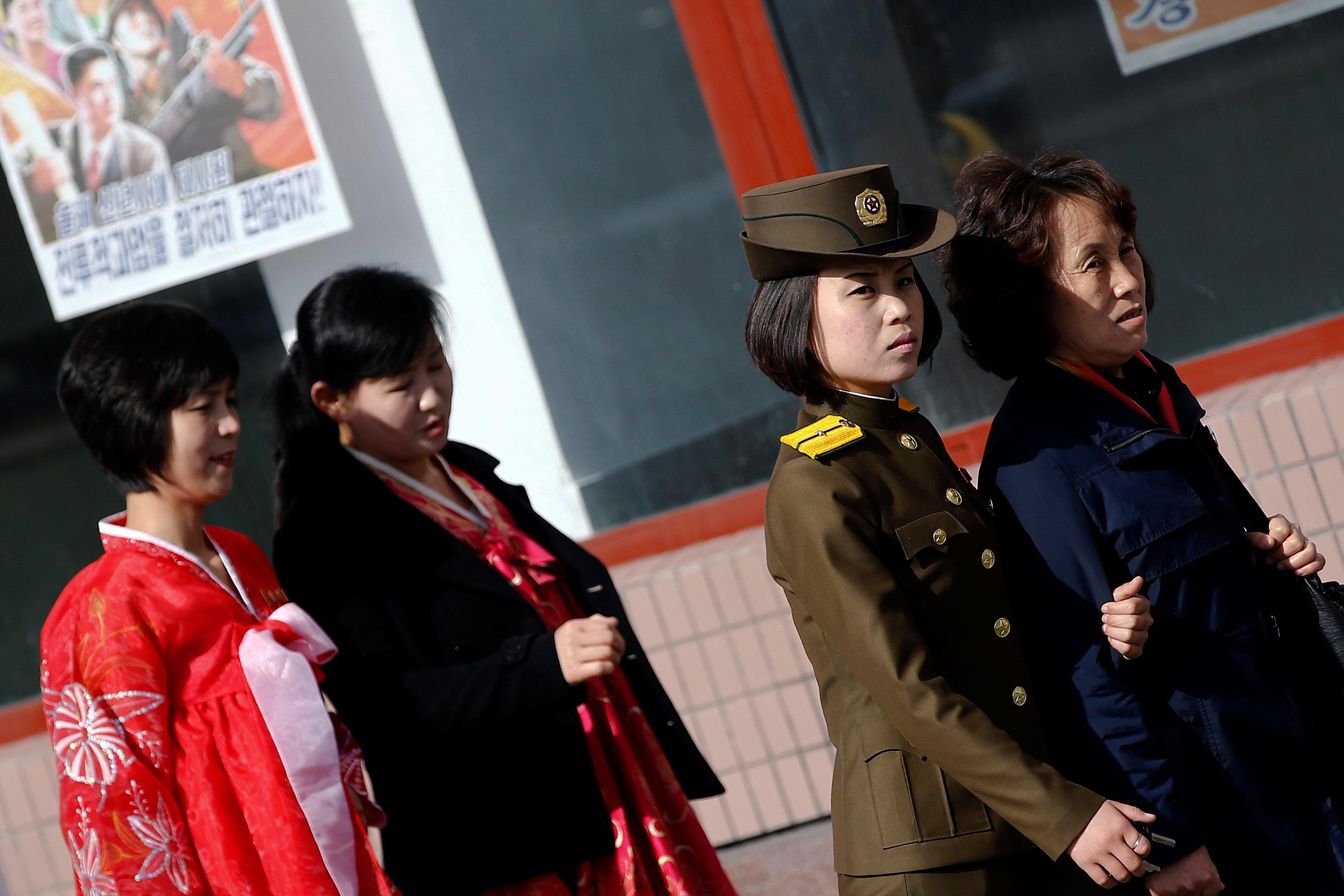 People commute in central Pyongyang, North Korea April 12, 2017. (REUTERS/Damir Sagolj)