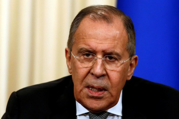 Russian Foreign Minister Sergei Lavrov during a news conference with U.S. Secretary of State Rex Tillerson following their talks in Moscow, Russia on April 12, 2017. (REUTERS/Sergei Karpukhin)
