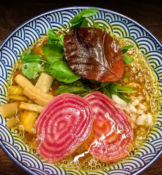 Kodawari vegan ramen with brown pumpkin broth, bamboo shoots, pickled beetroot, and watercress. (Courtesy of Ramen Lab)